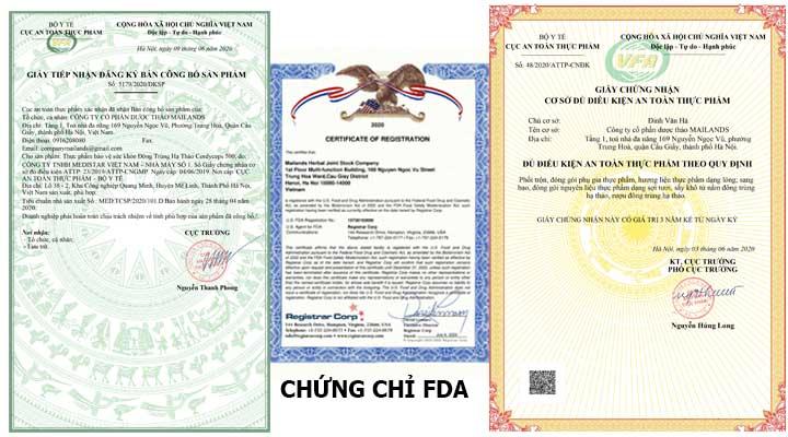 Cordyceps Mailands- Đơn vị đầu tiên về ĐTHT đánh giá cao nhất và là đơn vị đầu tiên đạt chứng chỉ FDA